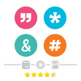 Quote, asterisk footnote icons. Hashtag symbol. Stock Images