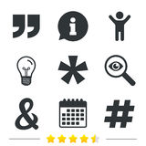 Quote, asterisk footnote icons. Hashtag symbol. Royalty Free Stock Photography