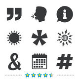 Quote, asterisk footnote icons. Hashtag symbol. Quote, asterisk footnote icons. Hashtag social media and ampersand symbols. Programming logical operator AND Royalty Free Stock Photos