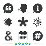 Quote, asterisk footnote icons. Hashtag symbol. Stock Photo