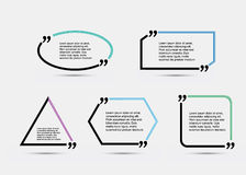 Quote blank template. Template vector eps 10 set. Empty quote bubble. Quote form. Quote citation blank template. Blank template with print information design vector illustration