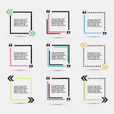 Quote blank template. Template vector eps 10 set. Empty quote bubble. Quote form. Quote citation blank template. Blank template with print information design stock illustration