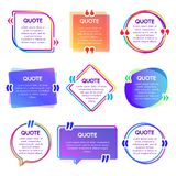 Quote box frame. Mention text frames, remark speech bubble and sentences quotes words boxes vector set. Quote box frame. Mention text frames, remark speech stock illustration