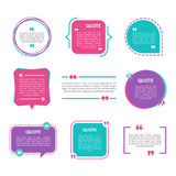 Quote box vector set on a white background. Templates quote bubbles with space for text in a flat style. Various colored quote blocks for statements or vector illustration
