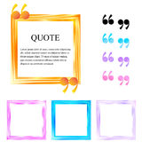 Quote boxes. Abstract square colored frames. Border for motivational quotes, important information and other content. The quotation mark. Vector illustration stock illustration
