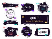 Free Quote Brush Text Box. Grunge Textured Label, Sketch Brush Template, Hand Drawn Rough Speech Bubbles. Remark Label Frames Royalty Free Stock Photos - 172382858