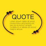 Quote bubble. Empty Citation text box template. Quote blank on yellow background Stock Photo
