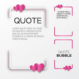 Quote bubble with hearts. Valentine's Speech bubble. Royalty Free Stock Photo