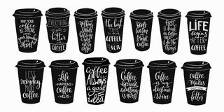 Quote coffee cup typography set Stock Photo