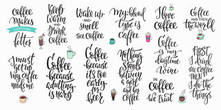 Quote coffee cup typography set. Quote coffee cup typography. Calligraphy style sign. Shop promotion motivation. Graphic design lifestyle lettering. Sketch hot Stock Photos