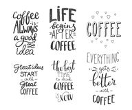 Quote coffee  typography set Royalty Free Stock Images