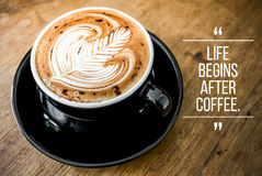 Quote with coffee. On wood background royalty free stock images