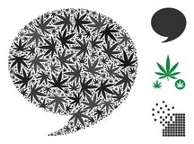 Quote Composition of Marijuana. Quote collage of cannabis leaves in different sizes and color variations. Vector flat marijuana symbols are united into quote Stock Images