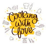 Quote Cooking with love. The trend calligraphy. Vector illustration on white background with a smear of yellow ink. Kitchen icons. Elements for design royalty free illustration