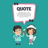 Quote with Doctors. Quote speech banner with flat cartoon Doctors. Clipping paths included vector illustration