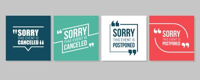 Free Quote Frames Emergency Set. Event Canceled Or Postponed Stock Images - 176035024