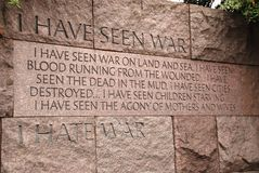 Quote at the Franklin D. Roosevelt Memorial. A quotation about war on the FDR memorial in Washington D.C Stock Photo