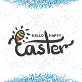 Quote Happy Easter Day design background with confetti. Lettering design. Luxury Easter greeting card. Background Royalty Free Stock Photo