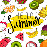 Quote Hello Summer. Fashionable calligraphy Stock Images
