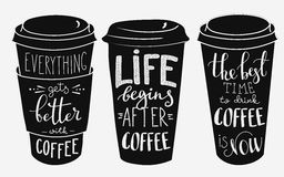 Quote lettering on coffee paper cup shape set Stock Image