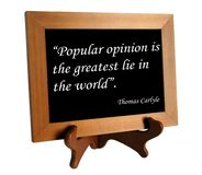 Quote about lie and truth. Wooden stand with quote about lie and truth by Thomas Carlyle as the concept of counteracting against fake news stock images