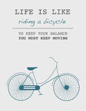 Life is like riding a bicycle Royalty Free Stock Images