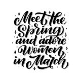 Quote about March - hand drawn lettering phrase for first month of spring, isolated on the black background. Fun brush ink inscrip. Tion for photo overlays royalty free illustration