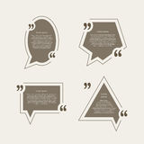 Quote mark speech bubbles set Stock Images