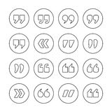 Quote marks outline circle vector icons Stock Image