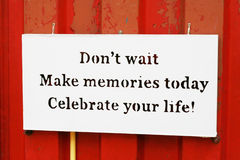 Quote of memories. A lable of quote that motivate life royalty free stock photos