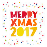 Quote Merry Christmas 2017. The trend calligraphy. Vector illustration on white background. Great holiday gift card for the new year. Merry Christmas Royalty Free Stock Photography
