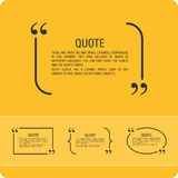 Quote on an orange background. Vector set of quotes on a yellow background . Template text with quotes Royalty Free Stock Image