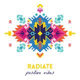 Quote. Radiate positive vibes. Ethnic design card template. Geometric tribal decorative print in boho style. Radiate positive vibes. Tribal geometric print Stock Photography