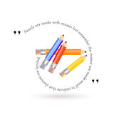 The quote and red, yellow, orange, blue pencils. The quote and red, yellow, orange, blue pencils on white background Royalty Free Stock Image