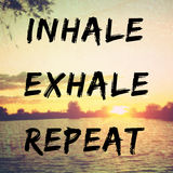 Quote about relaxation and peac. E with inhale, exhale, repeat text on retro background filter Stock Images