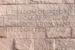 Quote at Roosevelt memorial Washington DC royalty free stock image