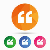 Quote sign icon. Quotation mark symbol. Stock Image