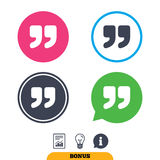 Quote sign icon. Quotation mark symbol. Royalty Free Stock Photo