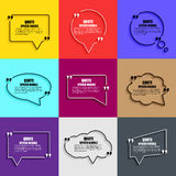 Quote speech bubble vector design template. Circle business card template, paper sheet, information, text. Print design. Short quotes in quotation marks stock illustration