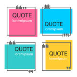 Quote square template. Colored quote square template. Quotes form and speech box isolated on white background. Vector illustration Stock Photography