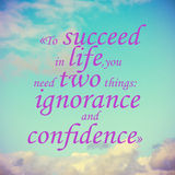 Quote of succeed from Mark twain Stock Photography