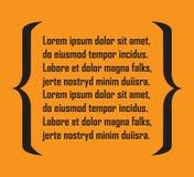 Quote symbol. Bracket icon on orange background. Vector illustration.  Stock Photos