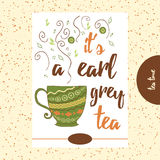 Quote about tea. It's a earl grey tea. Hand painted cup with cute steam. Royalty Free Stock Photos