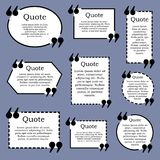 Quote text frame. VECTOR. Set of black and white frames on blue. Quote text frame. VECTOR template. Set of black and white frames isolated on blue Royalty Free Stock Photos