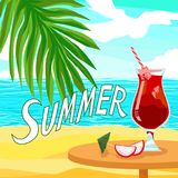 Quote text Summer and Alcoholic red cocktail juice - Shiny Advertising party banner. With ice and dragon fruit pitahaya. Palm beach in an exotic tropical sunny stock illustration