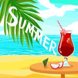Quote text Summer and Alcoholic red cocktail juice - Shiny Advertising vector poster. With ice and dragon fruit pitahaya. Palm beach in an exotic tropical sunny stock illustration