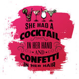 Quote typographical background about alcohol and cocktails. Stock Photos