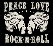 Quote typographical background `Peace love rock `n` roll. Royalty Free Stock Photos