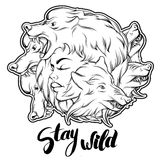 Quote typographical background. Stay wild. Royalty Free Stock Photos