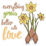 Quote Typographical Banner with bulb flowers for gardener Royalty Free Stock Images